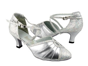 "6825B Silver Leather & Silver Scale with 2.5"" low heel in the photo"