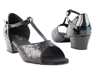 "801 Black Sparkle with 1.5"" Medium Heel in the photo"