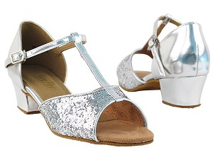 "801 Silver Sparkle with 1.5"" Medium Heel in the photo"