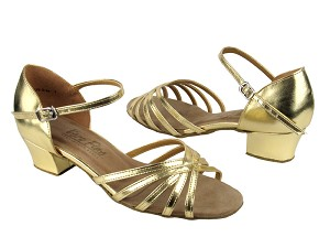 "802 Gold Leather with 1.5"" Medium Heel in the photo"