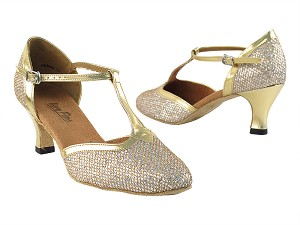 "9627 Gold Sparklenet & Gold Trim with 2.5"" low heel in the photo"