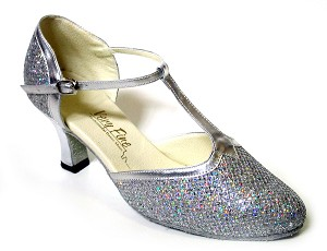 "9627 Silver Sparklenet & Silver Trim with 2.5"" low heel in the photo"