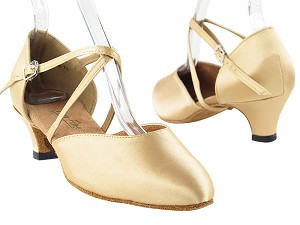 9691 Light Brown Satin & Cuban Heel