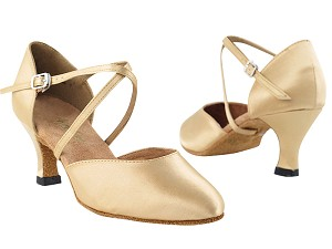 "9691 Light Brown Satin with 2.5"" low heel in the photo"
