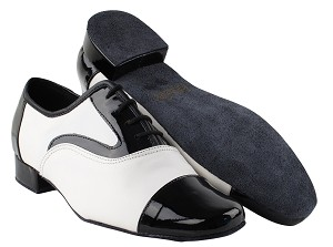 "916102 Black Patent & White Leather with 1"" heel in the photo"