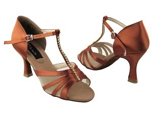 "CD2050 Dark Tan Satin with 3"" Flare heel in the photo"