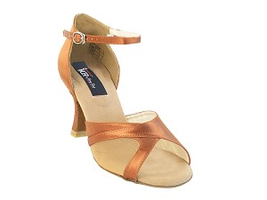 "CD2076 Dark Tan Satin with 3"" Flare heel in the photo"
