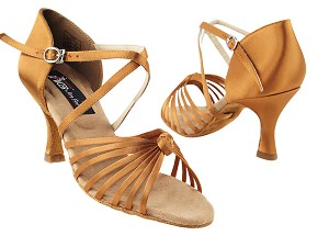 "CD2078 Dark Tan Satin with 3"" Flare heel in the photo"