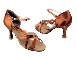 "CD2088 Dark Tan Satin with 3"" Flare heel in the photo"