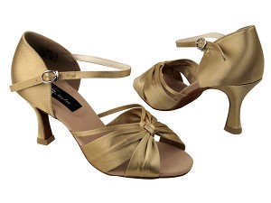 "CD2150 Tan Satin with 3"" Flare heel in the photo"