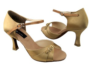 "CD2158 Tan Satin with 3"" Flare heel in the photo"