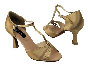 "CD2165 Tan Satin with 3"" Flare heel in the photo"