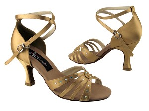 "CD2808 Tan Satin with 3"" Flare heel in the photo"