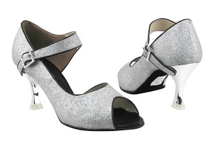 "CD3005 Silver Stardust with 3"" Silver Plated Flare Heel in the photo"