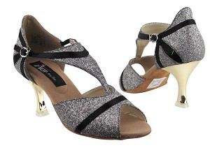 "CD3007 Party Stardust & Black Satin Trim with 3"" Gold Plated Flare Heel in the photo"