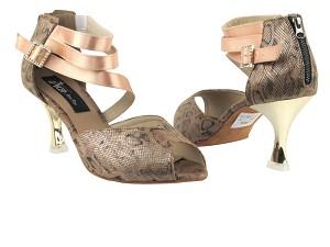 "CD3008 Brown Snake with 3"" Gold Plated Flare Heel in the photo"