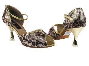 "CD3009 Brown Leopard with 3"" Gold Plated Flare Heel in the photo"