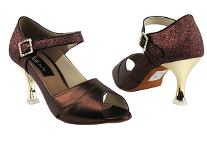 "CD3010 Copper & Copper Stardust with 3"" Gold Plated Flare Heel in the photo"