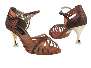 "CD3012 Dark Tan Satin & Copper Stardust with 3"" Gold Plated Flare Heel in the photo"