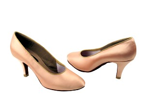 "CD5027M Flesh Satin with 2.75"" Slim heel in the photo"