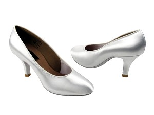"CD5027M White Satin with 2.75"" Slim heel in the photo"