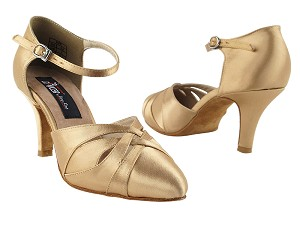 "CD6007 Tan Satin with 2.75"" Slim heel in the photo"