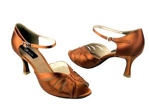 "CD6100 Dark Tan Satin with 3"" Flare heel in the photo"