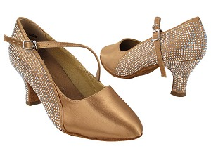 "SERA5512CC 211 Tan Satin_S9138 Strap with 2.5"" Heel (2040) in the photo"