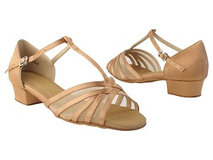 "16612FT Tan Satin_Flesh Mesh with 1"" Flat Heel in the photo"