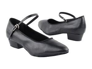 "1682FT Black Leather with 1"" Flat Heel in the photo"