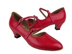 PP201 Red Leather & Cuban Heel