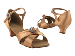 "PP204 Tan Satin with 1.2"" cuban heel in the photo"