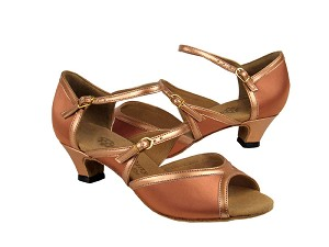 "PP207 Tan Satin & Copper Nude Trim with 1.2"" cuban heel in the photo"