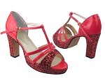 1683Platform Red Sparkle & Red Patent