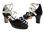 6005DPlatform Black Suede_F_Black Sparkle_P_H_Gold Leather_Double Straps