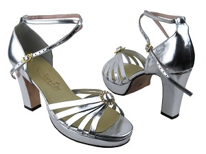 6005Platform Silver Leather & Stone