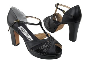 6006Platform Black Leather_Black Sparkle