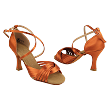 "S1001 Dark Tan Satin with 3"" Heel in the photo"