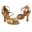 "S1001 Gold Scale_Dark Tan Gold Leather with 3"" Heel in the photo"