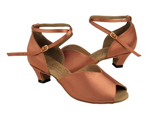 S2801 Tan Satin & Cuban Heel