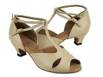 S2803 Beige Leather & Cuban Heel
