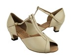 S2804 Beige Leather & Cuban Heel