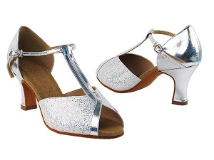 "S2804 Silver Scale & Silver Leather with 2.5"" Heel in the photo"