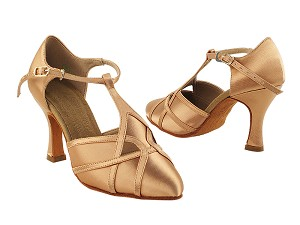 "S3801 Tan Satin with 3"" Heel in the photo"