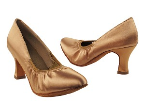 "S9107 Tan Satin with 2.5"" Heel in the photo"