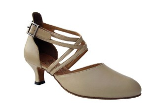 "S9110 Beige Leather with 2"" Slim heel in the photo"