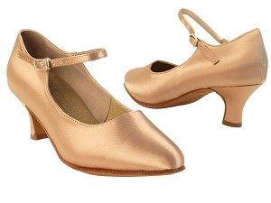 "S9137 Tan Satin with 2"" Slim Heel in the photo"