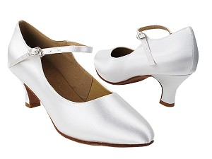 "S9137 White Satin with 2"" Slim Heel in the photo"