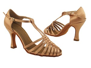 "S9177 Tan Satin with 3"" Heel in the photo"