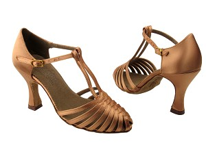 "S9177 Tan Satin with 3"" Flare heel in the photo"